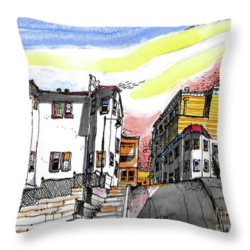 Throw Pillow featuring the painting San Francisco Side Street by Terry Banderas