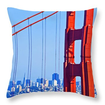 San Francisco Skyline Throw Pillow by Dennis Cox