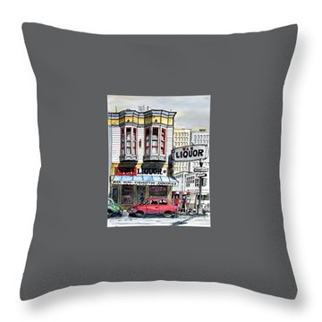 Throw Pillow featuring the painting San Francisco Street Corner by Terry Banderas