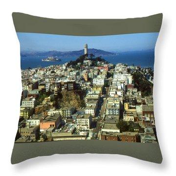 San Francisco - Telegraph Hill And Alcatraz Throw Pillow
