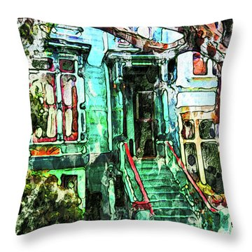 San Francisco Victorian Throw Pillow