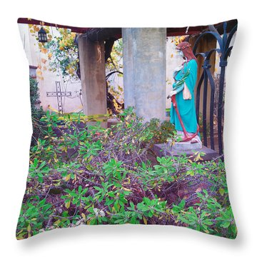 Throw Pillow featuring the photograph San Gabriel Mission California - Virgin Mary by Ram Vasudev