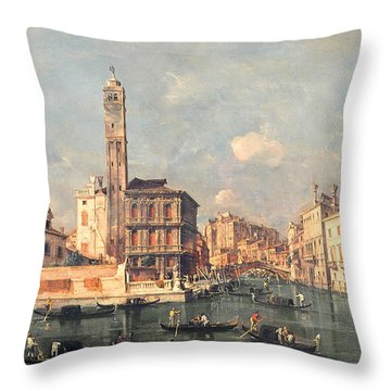 San Geremia And The Entrance To The Canneregio Throw Pillow by Francesco Guardi