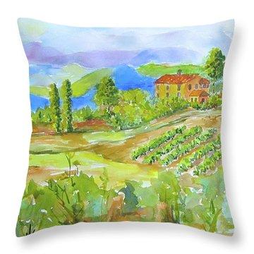 Vineyard At San Gimignano Throw Pillow