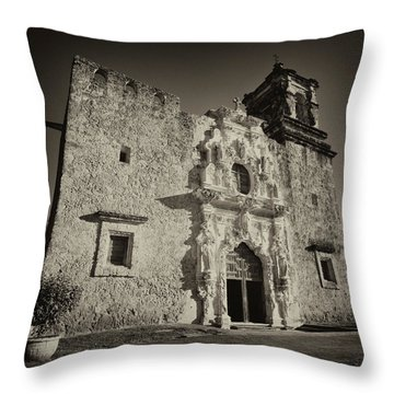 Throw Pillow featuring the photograph San Jose Mission - San Antonio by Stephen Stookey
