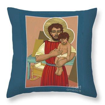 Throw Pillow featuring the painting Retablo De San Jose Obrero 301 by William Hart McNichols