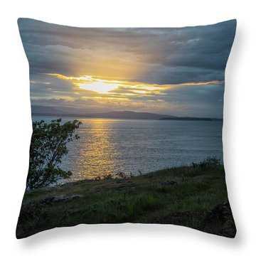 Throw Pillow featuring the photograph San Juan Island Sunset by Tom Singleton