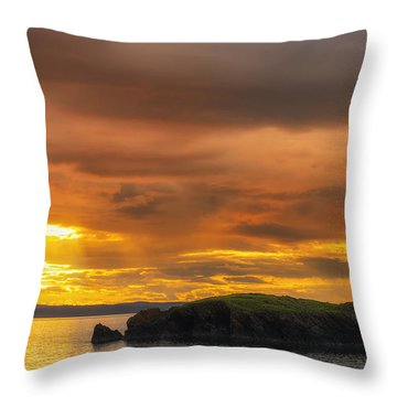 San Juan Islands Golden Hour Throw Pillow by Ryan Manuel