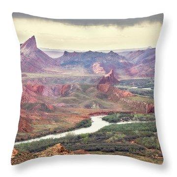 San Juan River And Mule's Ear Throw Pillow