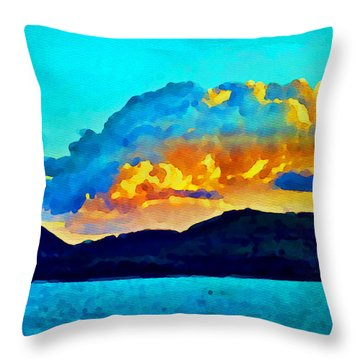 Throw Pillow featuring the painting San Juan Seascape by Joan Reese