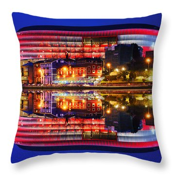 San Mames Stadium At Night With Water Reflections Throw Pillow