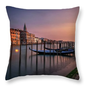 San Marco Campanile With Gondolas At Grand Canal During Calm Sunrise, Venice, Italy, Europe. Throw Pillow