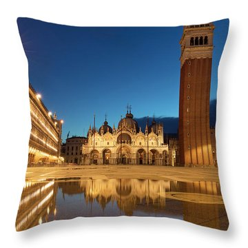 Throw Pillow featuring the photograph San Marco Twilight by Brian Jannsen