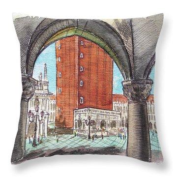 Throw Pillow featuring the painting San Marcos Square Venice Italy by Irina Sztukowski