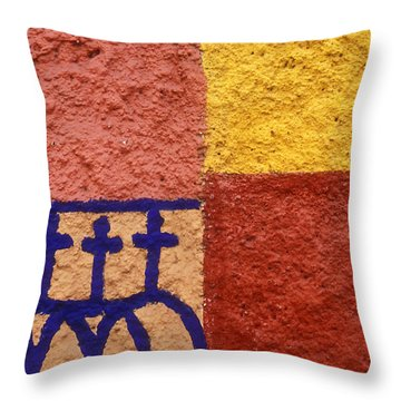 Throw Pillow featuring the photograph San Miguel Wall San Miguel De Allende Mexico by John  Mitchell