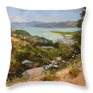 San Rafael Bay From Via La Cumbre, Greenbrae, Ca Throw Pillow