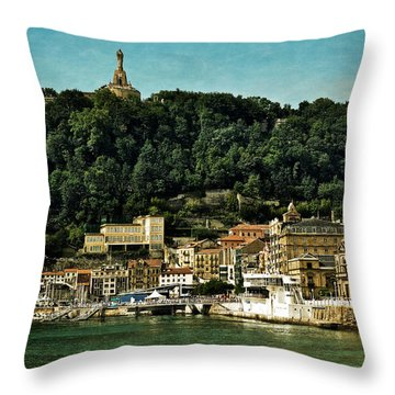 San Sebastian Spain Throw Pillow by Mary Machare