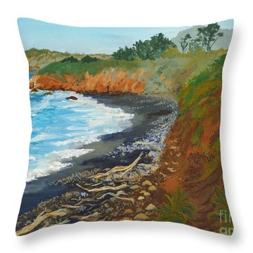 Throw Pillow featuring the painting San Simeon Ca Coast by Katherine Young-Beck