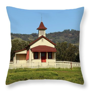 Throw Pillow featuring the photograph San Simeon - Castle And Schoolhouse by Art Block Collections