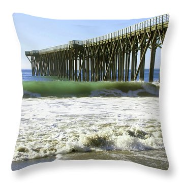 Throw Pillow featuring the photograph San Simeon Pier by Art Block Collections