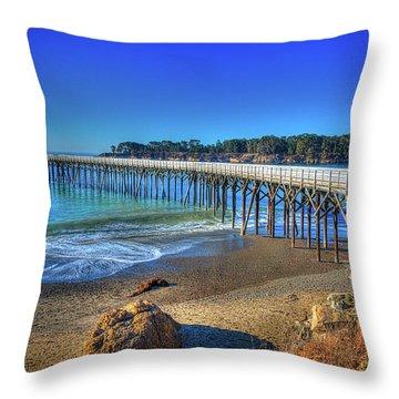 San Simeon Pier California Coast Throw Pillow by James Hammond