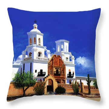Throw Pillow featuring the painting San Xavier Del Bac Mission by M Diane Bonaparte