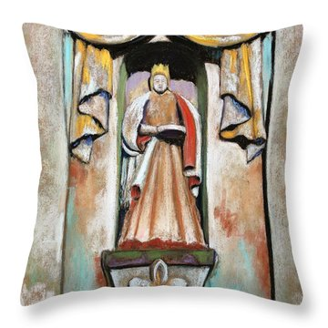 Throw Pillow featuring the painting San Xavier Statue by M Diane Bonaparte