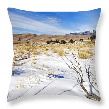 Sand And Snow Throw Pillow by Mike  Dawson