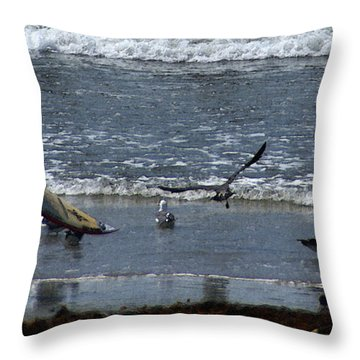 Sand And Surf Throw Pillow by Linda Shafer