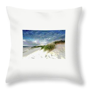 Sand And Surfing Throw Pillow by Charles Shoup