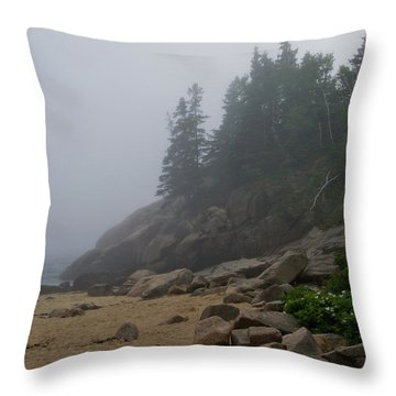 Sand Beach In A Fog Throw Pillow