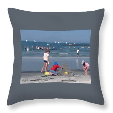 Sand Castle And Sailboats At Wingaersheek Beach Throw Pillow