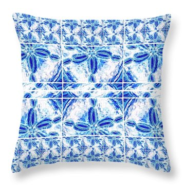 Throw Pillow featuring the digital art Sand Dollar Delight Pattern 6 by Monique Faella