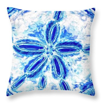 Throw Pillow featuring the painting Sand Dollar by Monique Faella