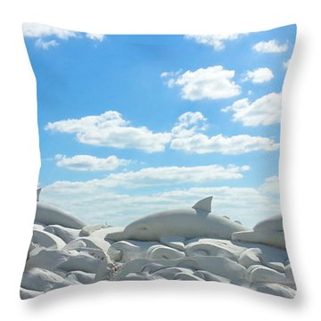 Sand Dolphins At Siesta Key Beach Throw Pillow