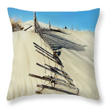 Sand Dune Fences And Shadows Throw Pillow by Gary Slawsky