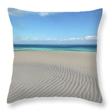 Sand Dune Ripples And The Ocean Beyond Throw Pillow