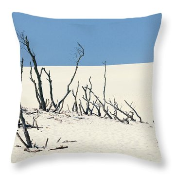 Throw Pillow featuring the photograph Sand Dune With Dead Trees by Chevy Fleet
