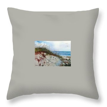 Sand Dunes And Sea Oats Throw Pillow
