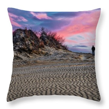Sand Dunes Of Kitty Hawk Throw Pillow