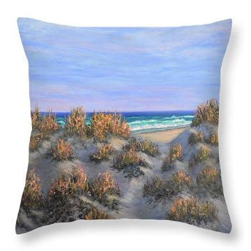 Sand Dunes Sea Grass Beach Painting Throw Pillow