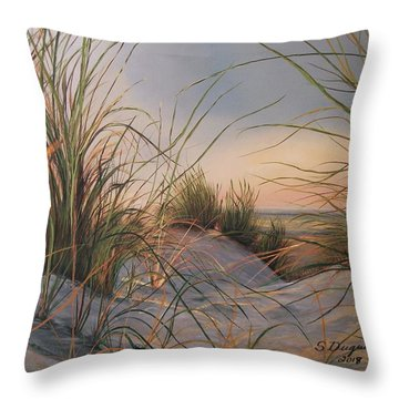 Throw Pillow featuring the painting Sand Dunes  by Sharon Duguay