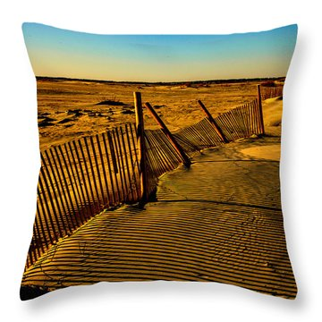 Sand Fences At Lands End II Throw Pillow