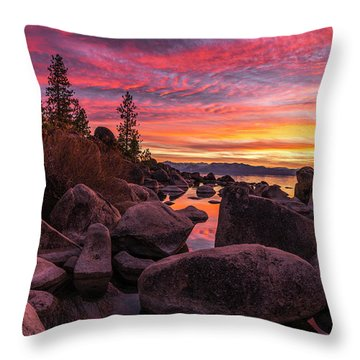 Sand Harbor Beach Throw Pillow