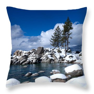 Sand Harbor In Winter Throw Pillow by Vinnie Oakes