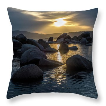 Sand Harbor Light Throw Pillow