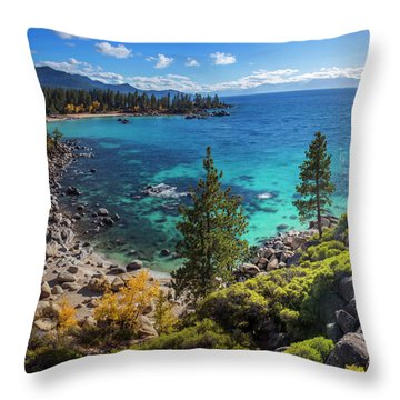 Sand Harbor Lookout By Brad Scott - Square Throw Pillow
