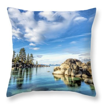 Sand Harbor Morning Throw Pillow