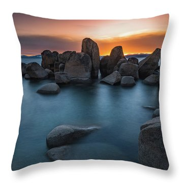Sand Harbor Sunset Throw Pillow