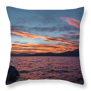 Sand Harbor Sunset Pano2 Throw Pillow
